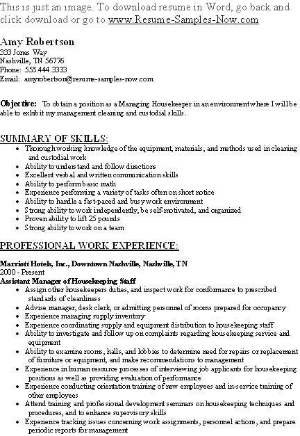 Resume Examples Housekeeping Of Resumes Sample