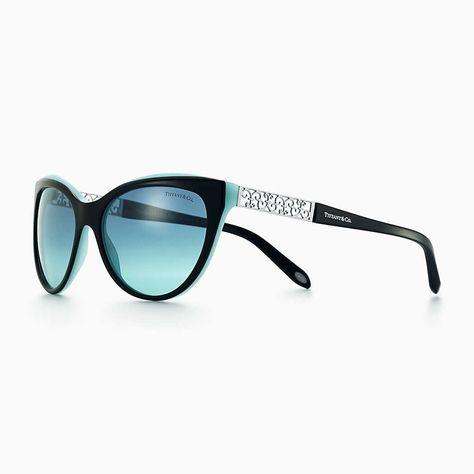 9a629bdc8d5 Tiffany HardWear cat eye sunglasses in black and Tiffany Blue® acetate.