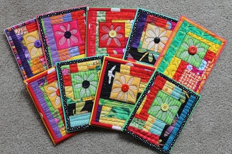 quilted cards from a pillow top