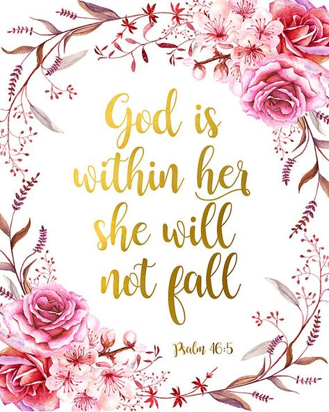 God Is Within Her She Will Not Fall Bible Verse Print Psalm 46:5 Christian Quote Scripture Printable