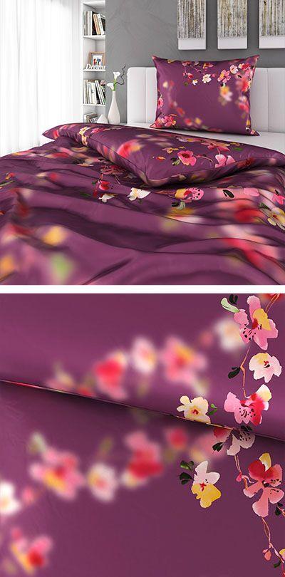 Bettwasche In Lila Mit Floralmuster 140x200 Bettwasche Bett Wasche
