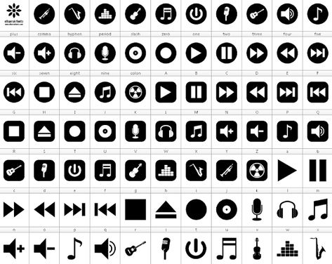 Download Font Bottons Music 78 Icons Play Fast Forward Stop Eject Pause Telecharger Font Ttf Otf Free Logo Fonts Egg Casserole Recipes Bacon And Egg Casserole