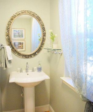 Charmant Pedestal Sink And Oval Mirror In The Half Bath. I Also Like The Glass  Shelving