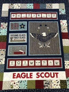 This large lap quilt is made from a gorgeous new fabric line by Riley Blake called Modern Scouting. It features the Boy Scout Emblem, Badges, the Boy Scout Pledge, and many other Scouting details. This quilt would make an excellent gift for an Eagle Scout or Scoutmaster. The quilt