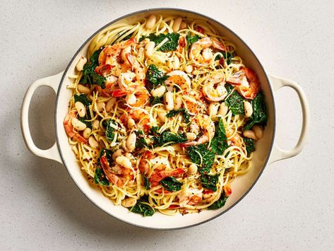 Credit: Joe Lingeman Credit: Joe LingemanThe beauty of a one-pot pasta is, of course, that you cook both the pasta and the sauce in a single pot. But this specific rendition has another big benefit: It's a complete meal, all in one. Here, protein-packed shrimp and white beans mingle with nutrient-dense kale in a bright, lemony pasta dish that's ready in just 20 minutes.In addition to adding protein, the beans break down a bit as they cook, lending a delightful creaminess to the pasta