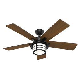 Hunter Lantern Bay 54 In Matte Black Led Indoor Outdoor Ceiling Fan With Remote 5 Blade Lowes Com Outdoor Ceiling Fans Ceiling Fan Ceiling Fan With Remote
