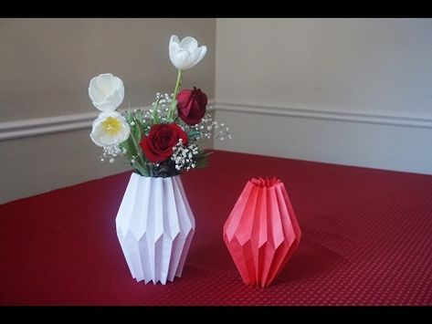 3D origami paper flower vase with their hands master class ... | 355x473