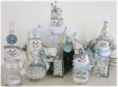 Snowman Made Out of Glass Jars