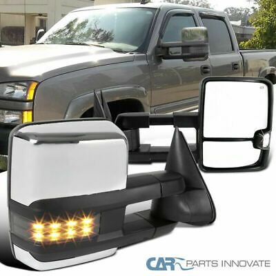 Pair Fits 03-06 Silverado Sierra Power+Heated LED Signal Tow Side View Mirrors