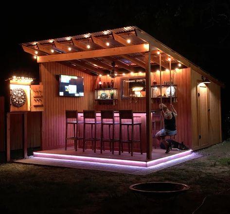 Backyard Pavilion, Backyard Bar, Backyard Patio Designs, Patio Bar, Backyard Projects, Backyard Landscaping, Outdoor Bar And Grill, Outdoor Garden Bar, Outdoor Bars