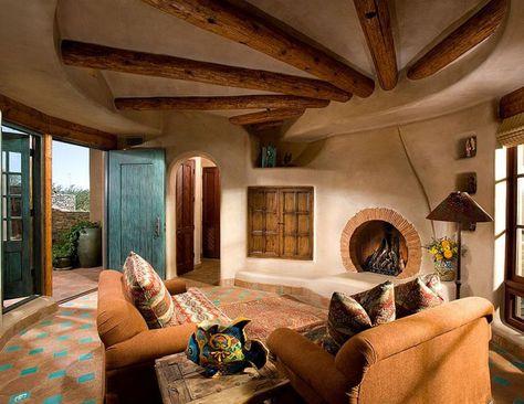 adelaparvu com despre casa pe rotund cu piscina casa de lut si lemn casa americana arhite Southwestern home decor Southwestern home Living room decor rustic
