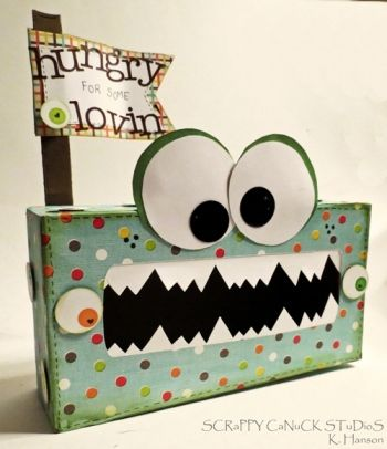 Tissue box craft...know I'm going to have to make something like this for the boys at school for V-day cards :) Cute and boyish!