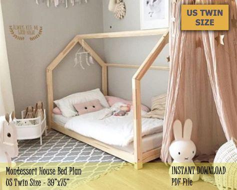 Montessori Toddler House Bed Frame, US Twin Size Kids Bed Plan, Easy and Affordable DIY Wooden Floor Bed for Kids Bedroom - girls room Toddler Floor Bed, Toddler House Bed, Diy Toddler Bed, Toddler Beds For Boys, Unique Toddler Beds, Wooden Toddler Bed, Toddler And Baby Room, Toddler Bed Frame, House Beds For Kids