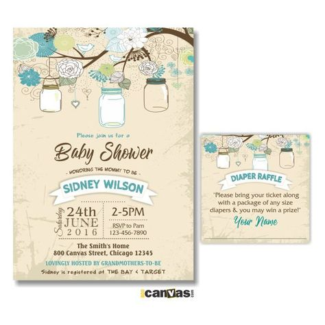 50 Ideas Baby Shower Invitations Free Printable Mason Jars