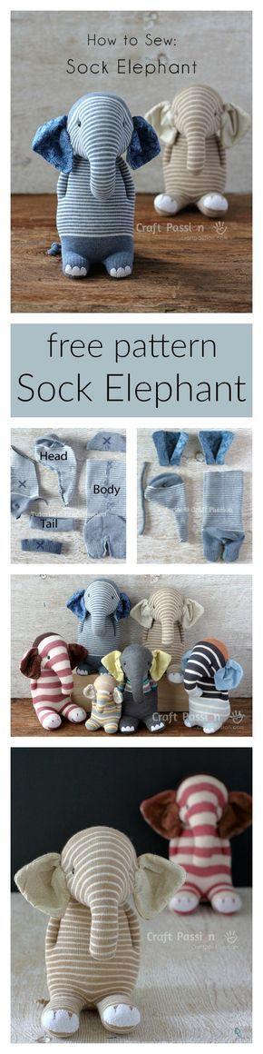 Sock Elephant - Free Sewing Pattern & Tutorial