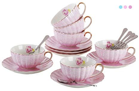 Porcelain Tea Cup and Saucer Coffee Cup Set with Saucer and Spoon Set of 6