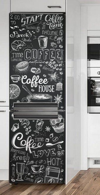 Fridge Wrap Black White Fridge Decal Fridge Door Sticker Refrigerator Wraps Coffeee House Decal Vinyl Decal Self Adhesive Coffee House In 2020 White Fridges Refrigerator Wraps Painted Fridge