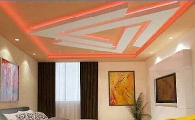 Geometric Pop Design For False Ceiling Designs For Bedrooms