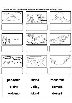 Land And Water Forms Worksheets And Flashcards Social Studies Worksheets Flashcards Elementary Geography