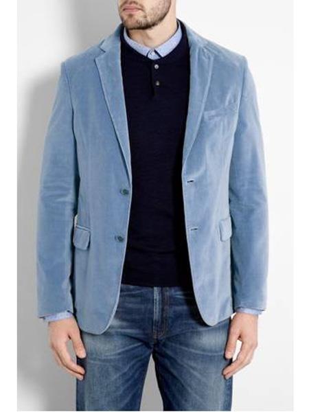 Mens Sky Blue Light Blue Baby Blue Blazer Men Blue Velvet Suit Sports Blazer
