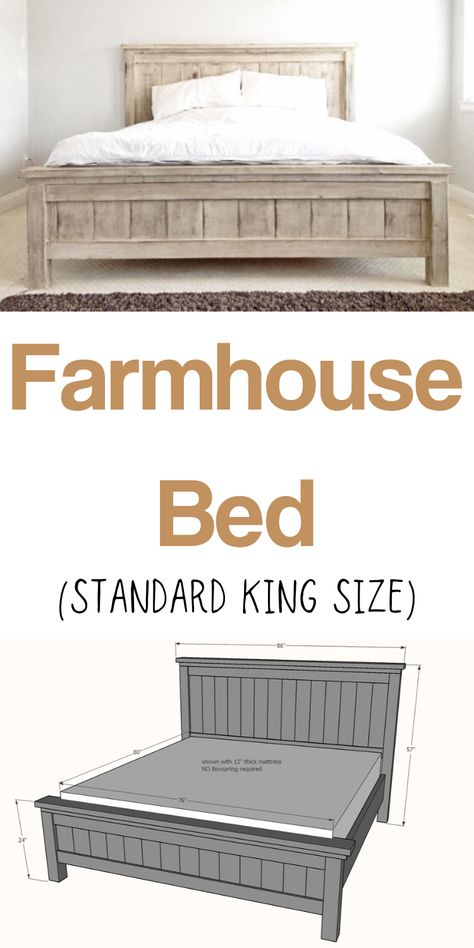 This stunning (and extra sturdy!) Farmhouse King Bed frame costs just a fraction to build vs buy. It's made of solid wood and you won't need a ton of tools to whip it out. You'll love the step by step diagrams, shopping list and cut list. Diy Furniture Decor, Diy Furniture Plans, Farmhouse Furniture, Building Furniture, Wood Bedroom Furniture, Diy Furniture Projects, White Furniture, Furniture Makeover, Furniture Design