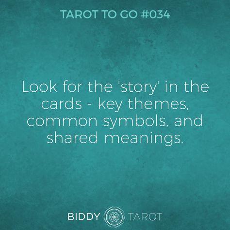Tarot To Go #34 Look for the 'story' in the cards - key themes, common symbols, and shared meanings. #tarot #tarottogo #tarotreadersofinstagram #tarottutorials #intuition #biddytarot #tarotcards #tarotreading #tarotcard #tarotmeanings #tarotcardmeanings #tarotlessons #learntarot
