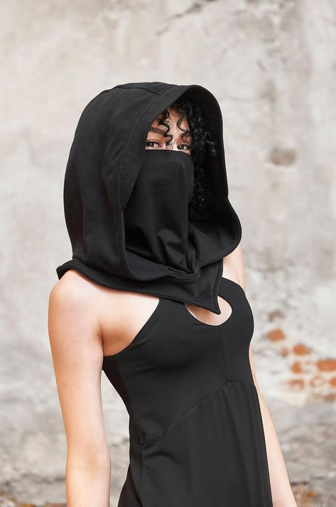 The Mask Costume, Black Hood, Hooded Scarf, Balaclava, Fashion Face Mask, Costumes For Women, Womens Scarves, Stylish, How To Wear
