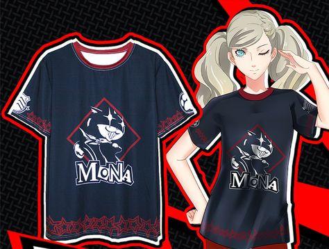 ペルソナ5心の怪盗団プリントTシャツ モナ モルガナ綿100%謎の黒猫キャラクター Tシャツ メンズMONA二頭身Tシャツ黒ネコ