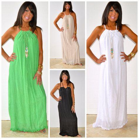7879c54b2bee Malibu Beach Halter Tie Flowy Maxi Dress Solid Lime White Black Khaki Xs S  M L