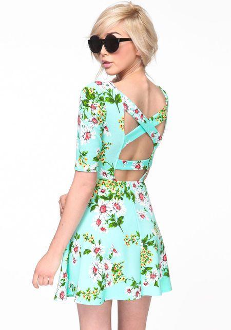 Flower Garden Skater Dress #floral #print #dress #skaterdress #mint #crossback #backless #spring #newarrivals #loveculture