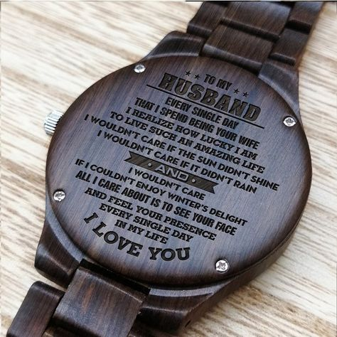Perfect Gifts For Husband - Engraved Wooden Watch - Men's Watch by HeavenKP, $85.65 USD