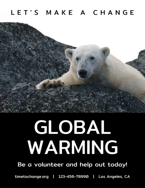 Simple Bear Global Warming Poster Template