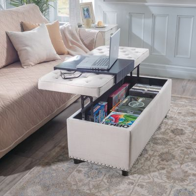 Phenomenal This Lift Top Multiple Use Storage Ottoman Can Be Used As A Gmtry Best Dining Table And Chair Ideas Images Gmtryco