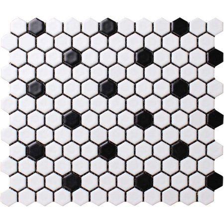 Ws Tiles Value Series 1 X 1 Hexagon Porcelain Mosaic Tile In Matte White With Black Dot 9 Square Feet Carton Walmart Com In 2020 Porcelain Mosaic Tile Porcelain Mosaic Tile Bathroom