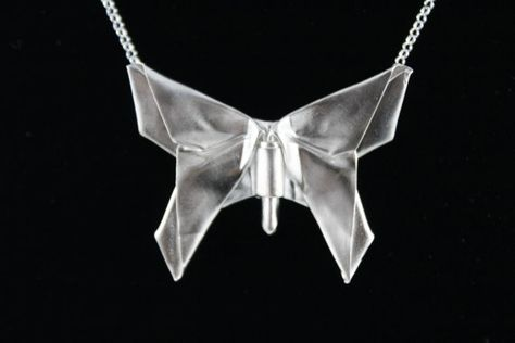 Silver Origami Butterfly NecklaceOrigami by folditcreations