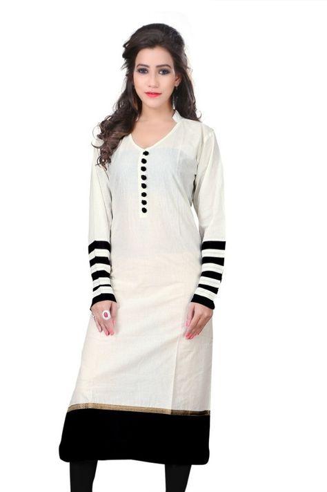 c3e217aec Sai Fabrics Casual Self Design Women s Kurti - Buy Offwhite Sai Fabrics  Casual Self Design Women s Kurti Online at Best Prices in India