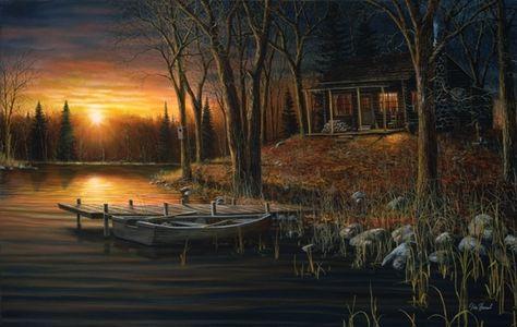 Evening Serenity Cabin Lake Print By Jim Hansel  12 x 7.75