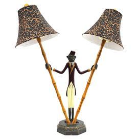 Tropical style double table lamp with leopard print shades