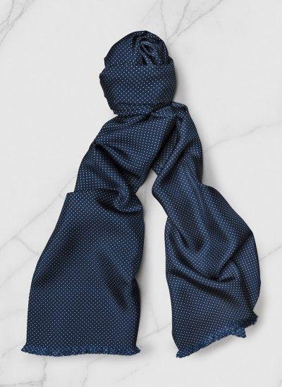 2a6c3d5572f Foulard homme en soie   Achetez votre foulard bleu marine imprimé plumetis  (petits pois) PERD2ARIP-A265 30 et découvrez la collection de costumes  hommes De ...