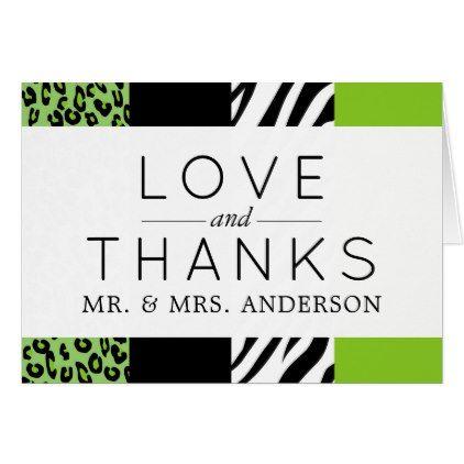 Thank You Animal Print Zebra Leopard Green Card Wedding And