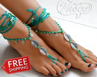 Purple  barefoot sandals Foot jewelry beach wedding Bridesmaids gift idea shoes Anklet boho Bohemian style anklets Hippie Footless sandals