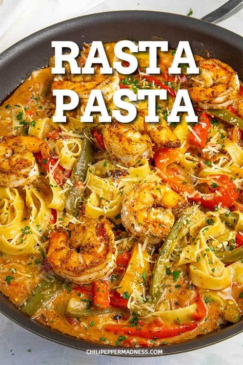 Rasta Pasta with Shrimp - This rasta pasta recipe gives Italian pasta a Jamaican spin with creamy coconut milk, lots of spicy jerk seasoning and huge flavor. Fish Recipes, Seafood Recipes, Cooking Recipes, Healthy Recipes, Recipes Dinner, Mexican Shrimp Recipes, Healthy Food, Pepper Recipes, Crockpot Recipes