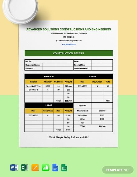 Construction Payment Receipt Template Free Pdf Google Docs Google Sheets Excel Word Template Net Receipt Template Financial Apps Free Receipt Template