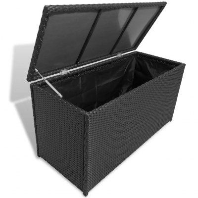 Garden Storage Box Black 120x50x60 Cm Poly Rattan Sale Price
