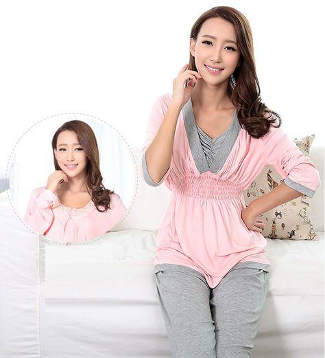 91b0694b119c1 nursing tops - Emotion Moms Long Sleeve Maternity Nursing Pajama Sets For  Pregnant Women Pregnancy Sleepwear XLerge Pink -- You can discover more ...