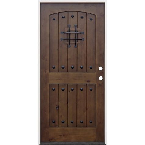 Pacific Entries 36 In X 80 In Walnut Left Hand Inswing Arched 2 Panel V Groove Speak Easy Stained Alder Prehung Front Door Brown In 2020 Wood Entry Doors Entry Doors Exterior Doors