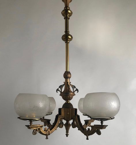 Genuine Antique Lighting 4 Light Gothic Revival Gas