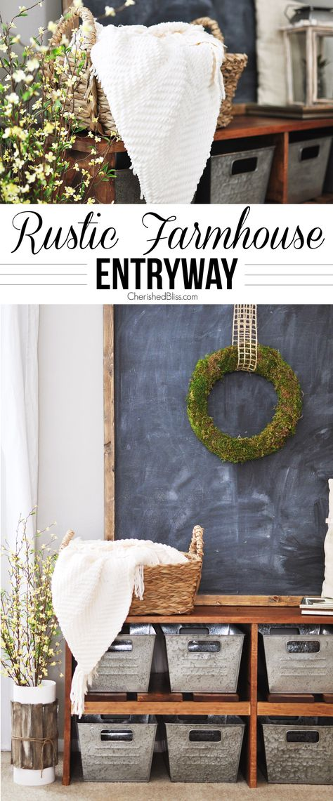 Love this Rustic Farmhouse Entryway! That bench, those bins! I want it all!