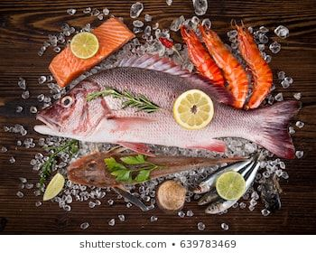 Fresh Tasty Seafood Served On Old Wooden Table Top View Close Up