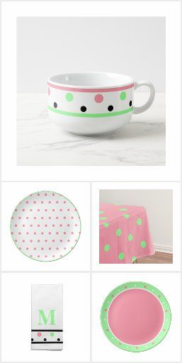 Pastel Pink Mint Green Black Polka Dots And Solid Prints With A Summertime Watermelon Colors Vibe Mix And Match Geometric In 2020 Color Vibe Pink Polka Dots